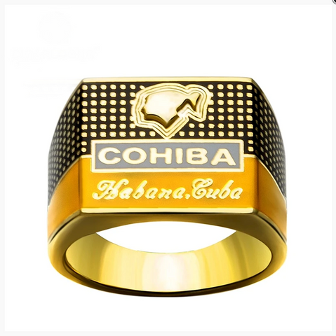 COHIBA Elegant Cigar Ring Gold-plated 925 Sterling Silver Jewelry - Free Shipping