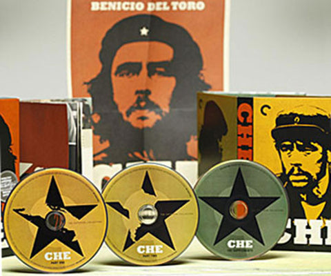 Che Guevara director-approved Criterion Collector's special edtion DVD disc films, The Argentine (Part 1) and Guerrilla (Part 2), starring Benicio Del Toro, Julia Ormond, and Carlos Bardian, and directed Steven Soderbergh