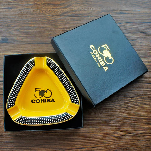 Cohiba Ceramic Cigar Ashtray - holds 3 cigars for indoor or outdoor use w/Gift Box- Free Shipping
