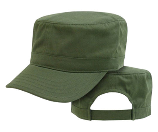 Che Guevara army green, military hat with visor, adjustable Velcro closure at back, and air holes