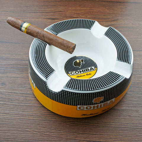 "Large Cohiba Cigar Ashtray 8"" Round for Patio/Outside/Indoor"