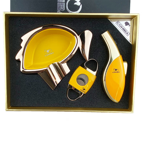 Cohiba Set - Cigar Ashtray Cutter Windproof Torch Jet Flame w/Gift Box