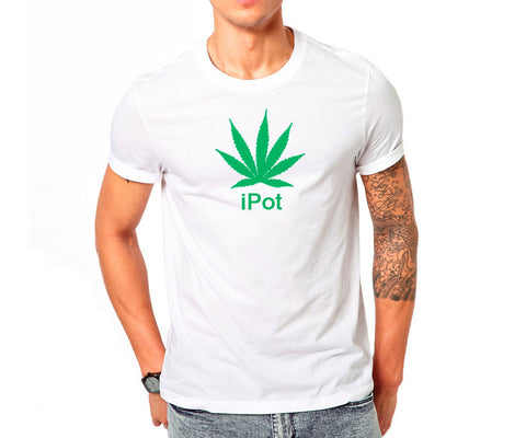 Short sleeve white T-shirt with green pot (cannabis / marijuana) leaf and iPot