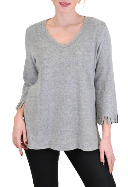 QUARTER SLEEVE V NECK FRINGE TRIM