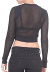 CROPPED MESH LONG SLEEVE SWEATER - PTJ TREND: Women's Designer Clothing
