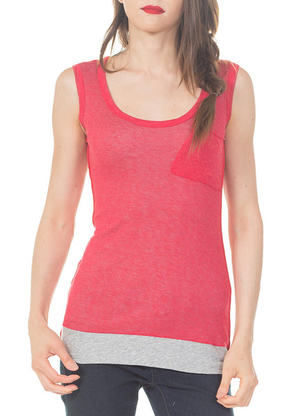KEY HOLE BACK TANK W/ POCKET - PTJ TREND: Women's Designer Clothing