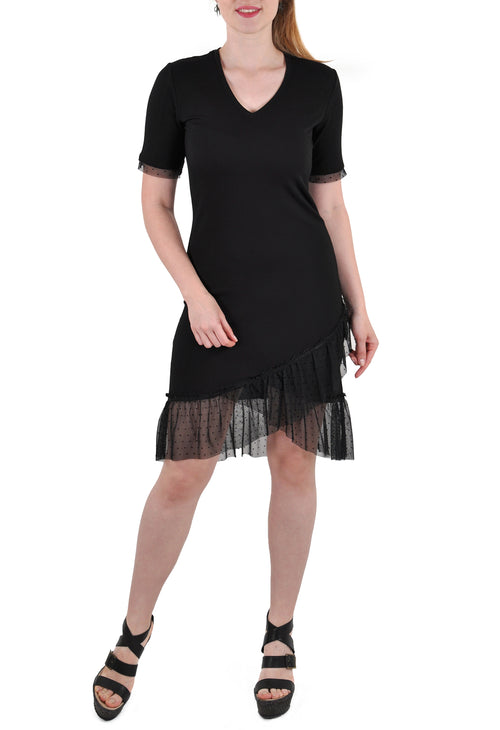 SHORT SLEEVE MID LENGTH DRESS LACE SHEATH
