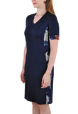 SHORT SLEEVE MID LENGTH DRESS  SIDE FLORAL