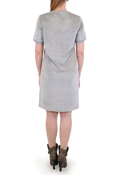 SHORT SLEEVE V-NECK DRESS