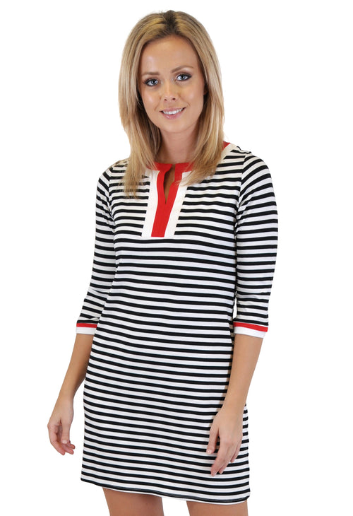 QUARTER SLEEVE STRIPES MINI DRESS