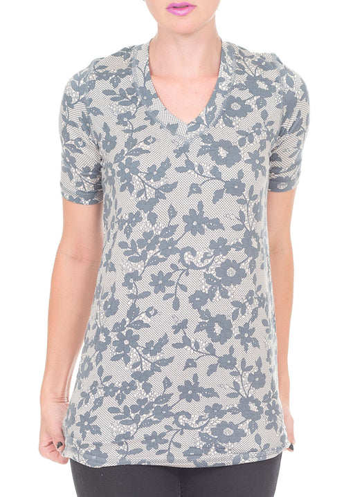 FLORAL PRINT V NECK SHIRT - PTJ TREND: Women's Designer Clothing