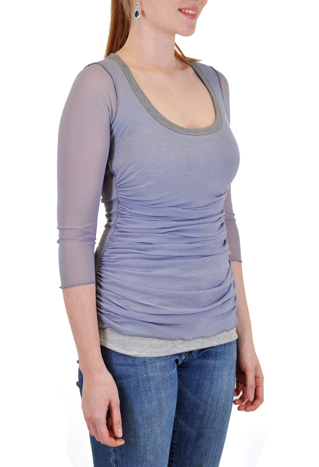 SCOOP NECK RUCHED TOP