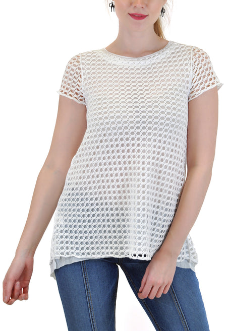 LONG SLEEVE SCOOP MESH TOP WITH RUFFLE BAND