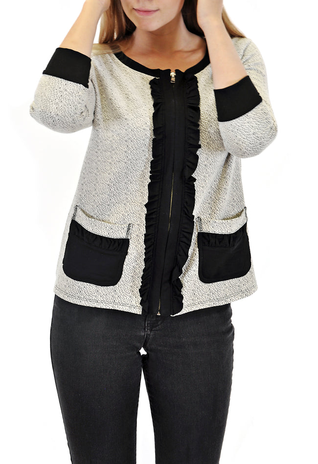 ZIP-UP JACKET WITH RUFFLE AND POCKET