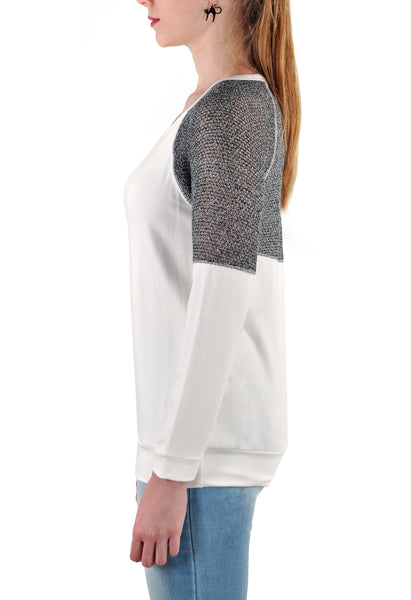 LONG SLEEVE TOP  SILVER INSERT
