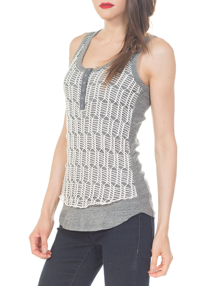 RACER BACK TANK DOUBLE FRONT LAYER FT SNAPS - PTJ TREND: Women's Designer Clothing