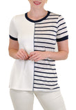 SHORT SLEEVE V NECK BLOCK-STRIPE