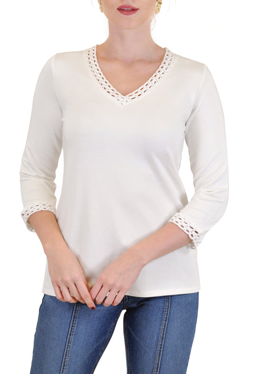 V-NECK  QUARTER SLEEVE TOP CROCHET TRIM