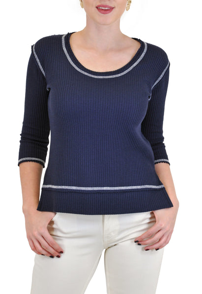 3/4 SLEEVE CREW NECK HI-LOW THERMAL TOP