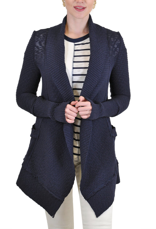 COTTON SLUB OPEN CARDIGAN WITH POCKETS