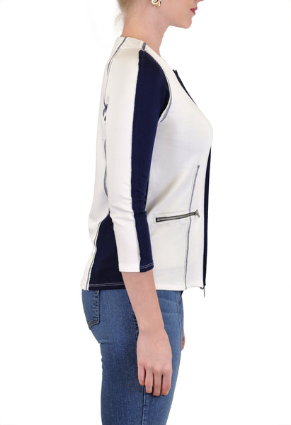 COLOR BLOCK  ZIP UP JACKET FRONT POCKETS