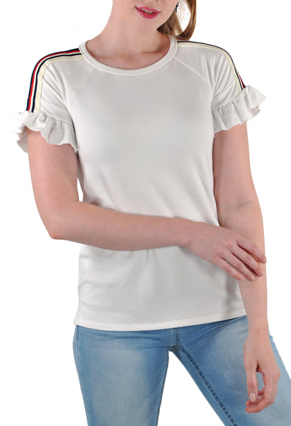 SHORT SLEEVE CREW WITH SHOULDER TAPE AND RUFFLES