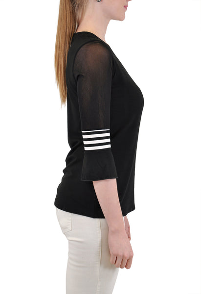 V NECK QUARTER SLEEVE WITH STRIPE TRIM