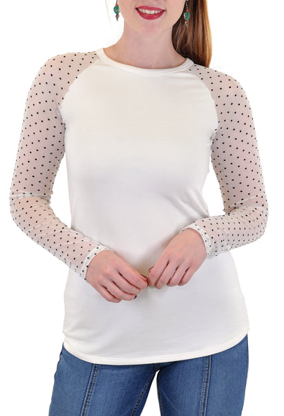 LONG SLEEVE CREW MESH DOTS SLEEVES
