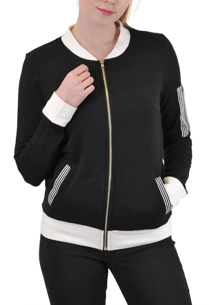 ZIP-UP BOMBER JACKET CONTRAST COLOR
