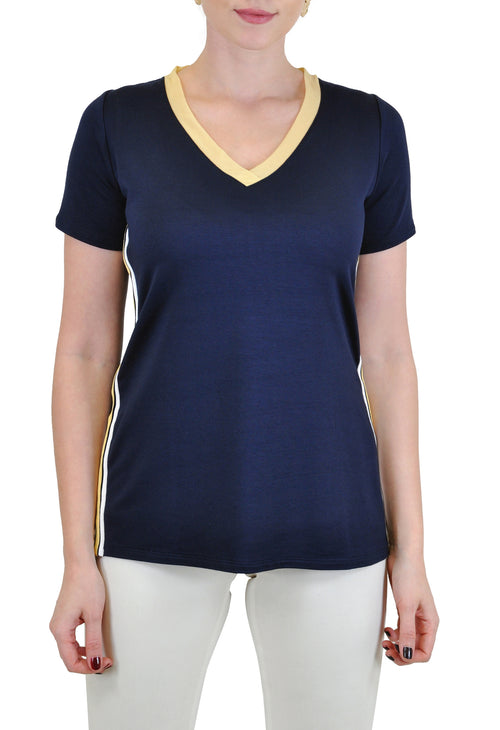SHORT SLEEVE V NECK TEE WITH SIDE TAPE