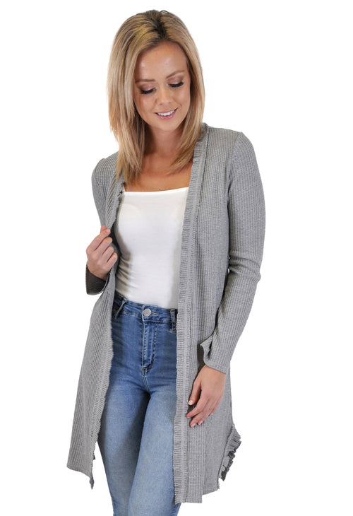 LONG SLEEVE RUFFLED CARDIGAN
