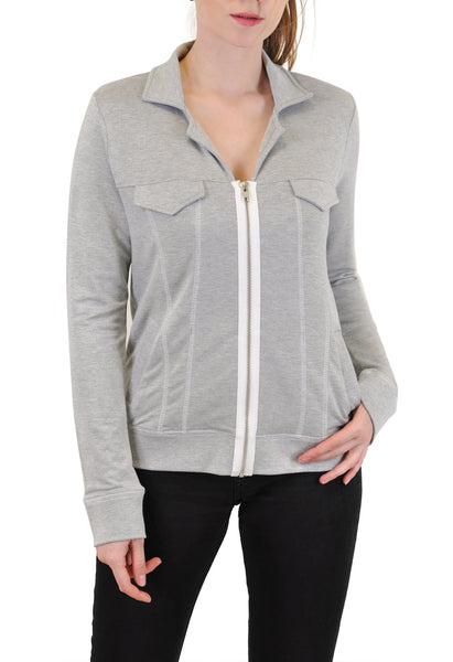 ZIP-UP JACKET CONTRAST STITCH