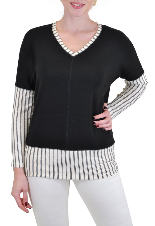 LONG SLEEVE V NECK STRIPES BLOCKED