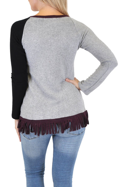 LONG SLEEVE COLORBLOCK FRINGE TRIM