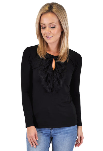 LONG SLEEVE LACE FRONT TRIM