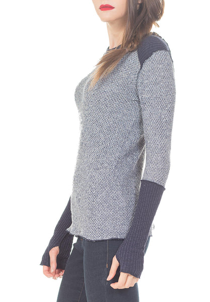 CREW NECK HIGH CUFF AND SHOULDER YOKE CB STITCH - PTJ TREND: Women's Designer Clothing