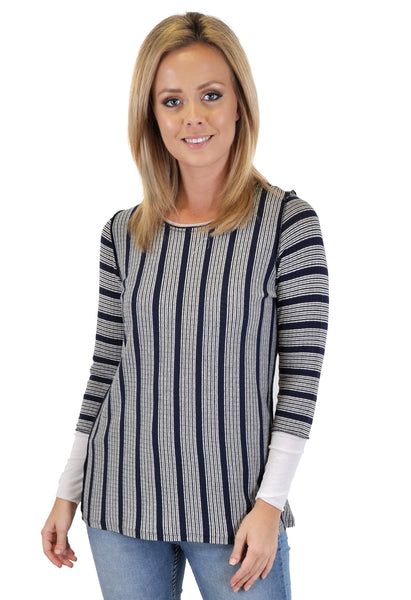 LONG SLEEVE MIXED STRIPES TOP