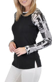 NEWSPAPER PRINT SLEEVES BASEBALL TOP