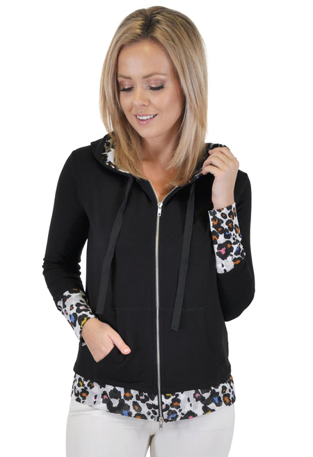 ZIP UP HOODIE WITH LACE ACCENT