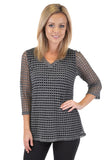 QUARTER SLEEVE V NECK CROCHET TOP