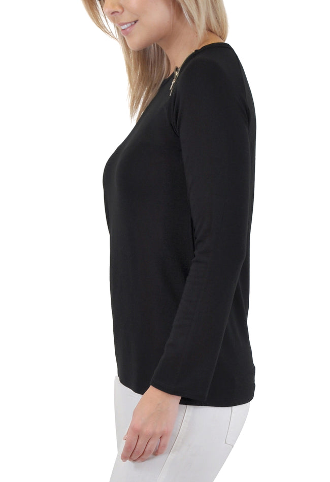 LONG SLEEVE WITH SHOULDE ZIPPER ACCENT