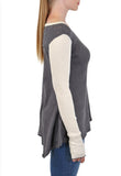 LONG SLEEVE CREW COLOR BLOCKED SLEEVES