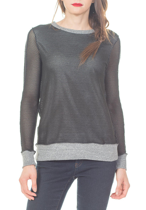 LONG SLEEVES MESH TEE RIB BAND & CUFF W/ SLV STRIPE - PTJ TREND: Women's Designer Clothing