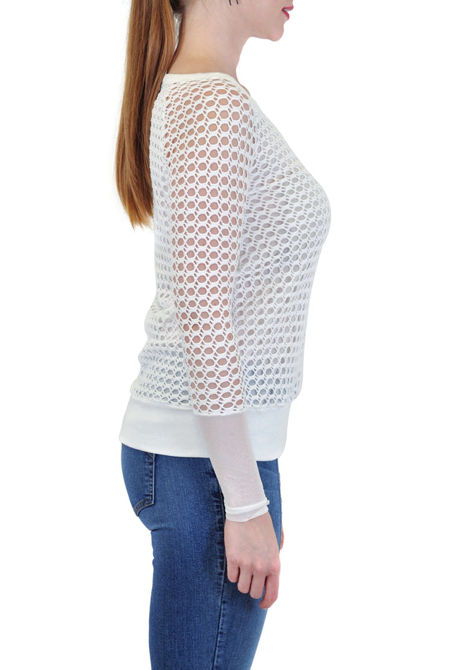LONG SLEEVE  CROCHET SCOOP NECK