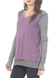 L/S  SHOULDER YOKE V-NECK W/ FT & BK OVERLAY - PTJ TREND: Women's Designer Clothing
