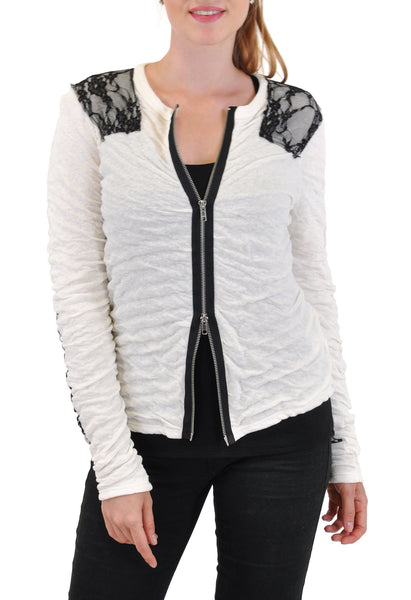 LONG SLEEVE CARDIGAN LACE TRIM