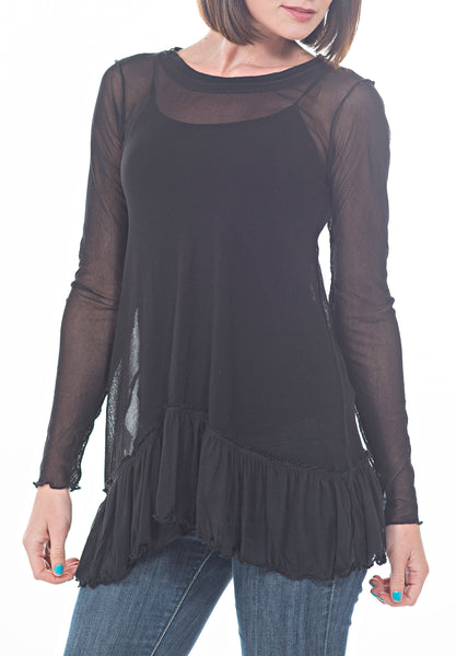 LS MESH TOP - PTJ TREND: Women's Designer Clothing