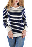 CREW NECK TOP NAVY STRIPES MATERIAL
