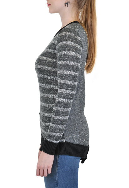 LONG SLEEVE STRIPE BACK CONTRAST