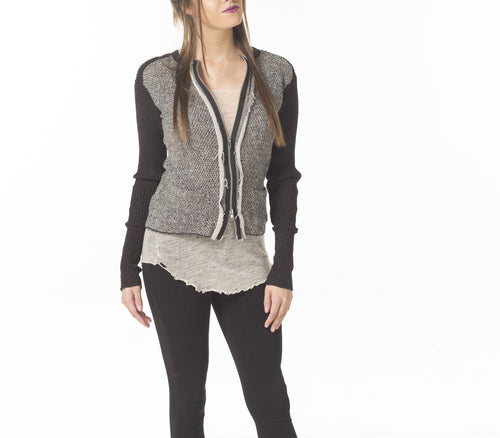 ZIPPER FRONT CARDIGAN W/ C.F TRIM - PTJ TREND: Women's Designer Clothing